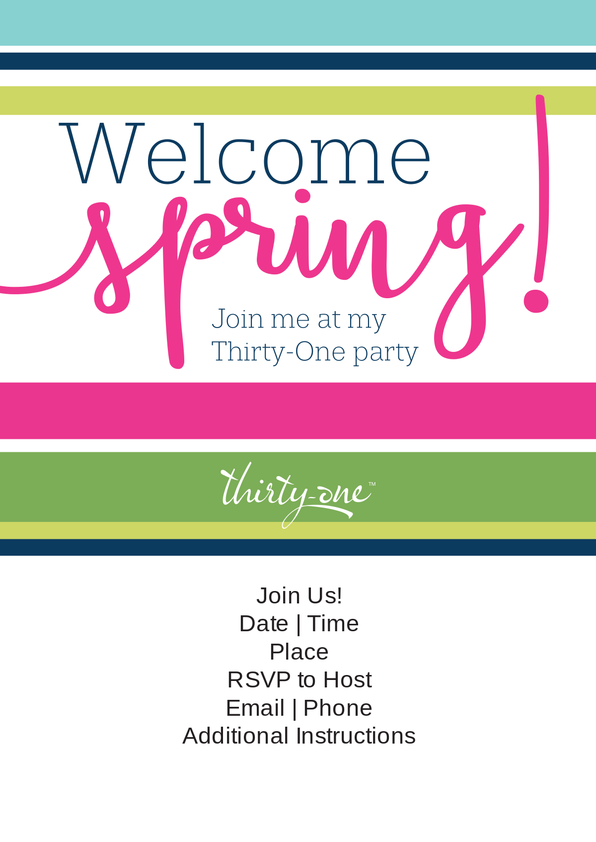 ThirtyOne Gifts Welcome Spring Invite thirtyone – Thirty One Party Invites
