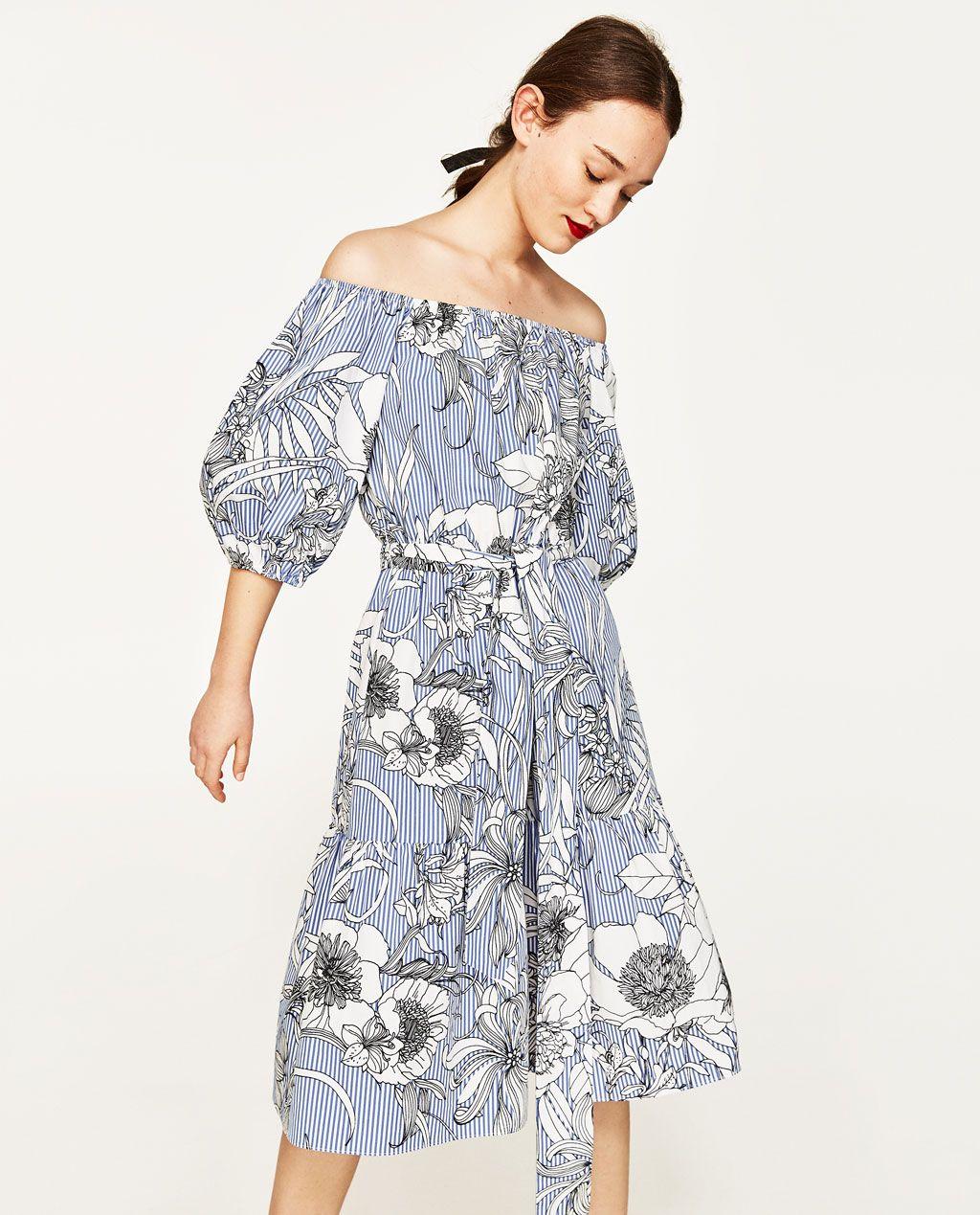 Und Mit Streifen Damen SaleZara Mittellange Kleider Blumen Tunika b6IgmY7yfv