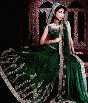 e1e11a23c7e Pakistan Bottle Green Bridal Wear Lehnga Sale