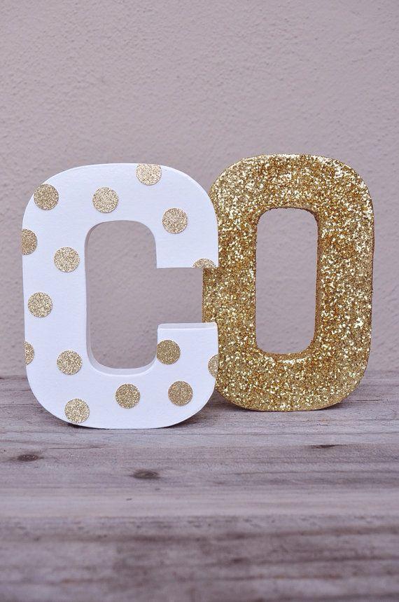 Gold Glitter Polka Dot Letter By Hocdesignsmarket On Etsy Letter A Crafts Diy Letters Crafts