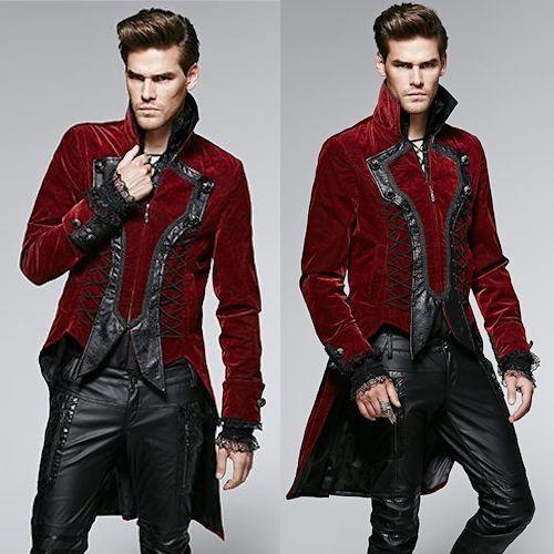 Antique Red Floral Velvet Victorian Gothic Dress Trench Coats Men SKU 11401803
