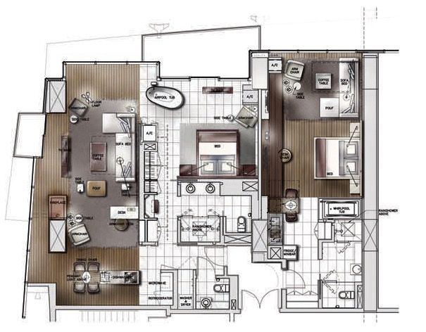 Palms Place Hotel Las Vegas Two Bedroom Hotel Suite Plan