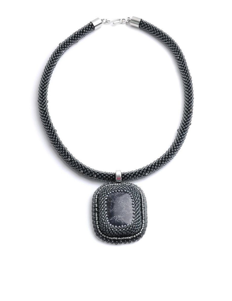 Black Grey necklace, Gemstone Crochet Seed bead necklace, Elegant feminine necklace, Romantic gift for her by AtelierFoufou on Etsy