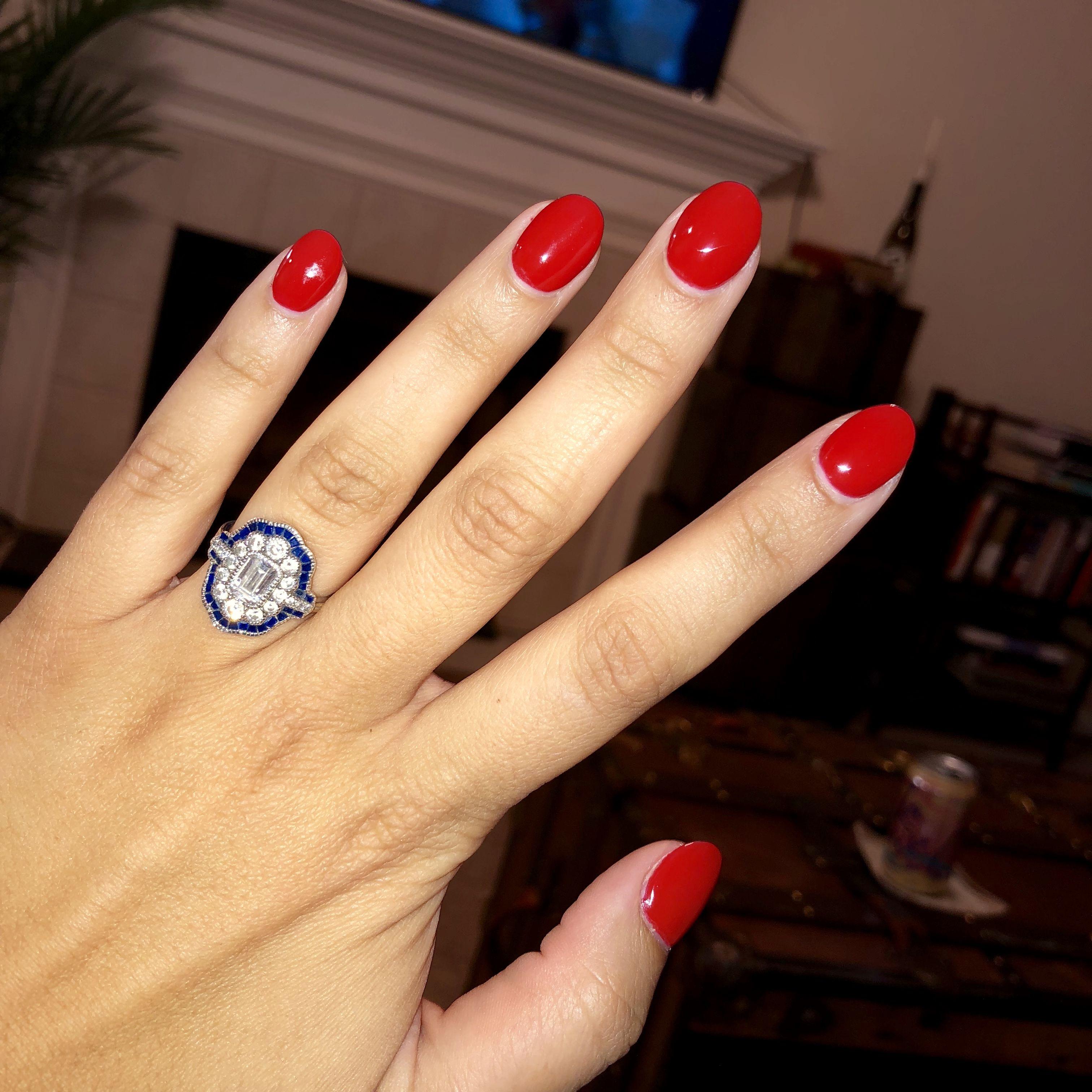 Orange Red Nails Manicure Almond Round Shape Short Red Gel Nails Short Almond Nails Red Orange Nails