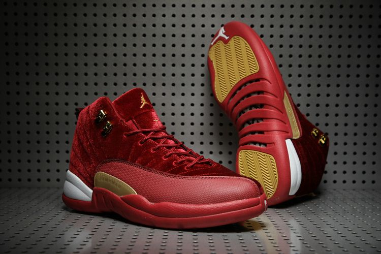the latest 071c5 83435 Air Jordan 12 Wine Red Gold Velvet is - KicksOkok