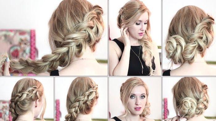 in sechs schritte eine flechtfrisur für blondes haar
