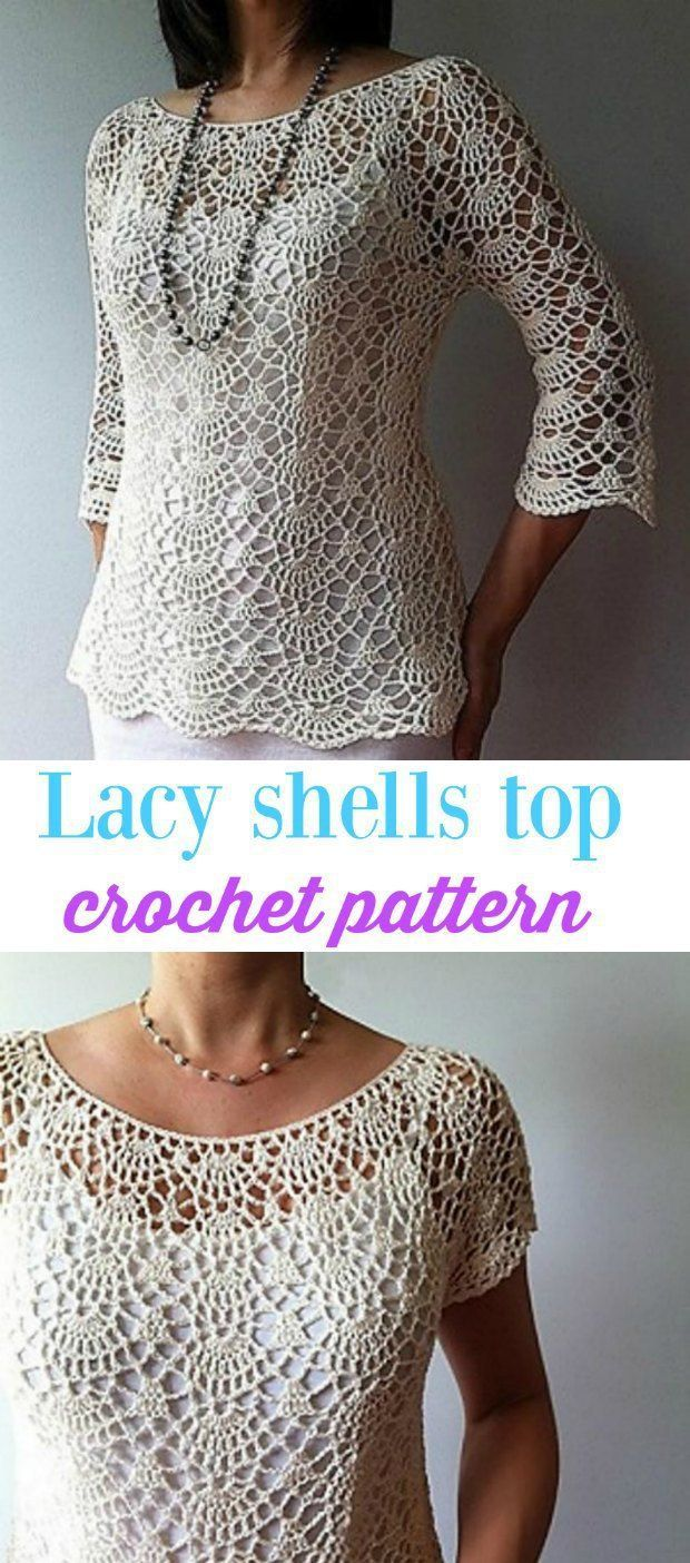 So pretty light and lacy crochet ladies top pattern crochet this semi fitted crochet top pattern lacy shells stitch is worked from the neck down with gentle shaping below the waist for a figure flattering fit bankloansurffo Gallery