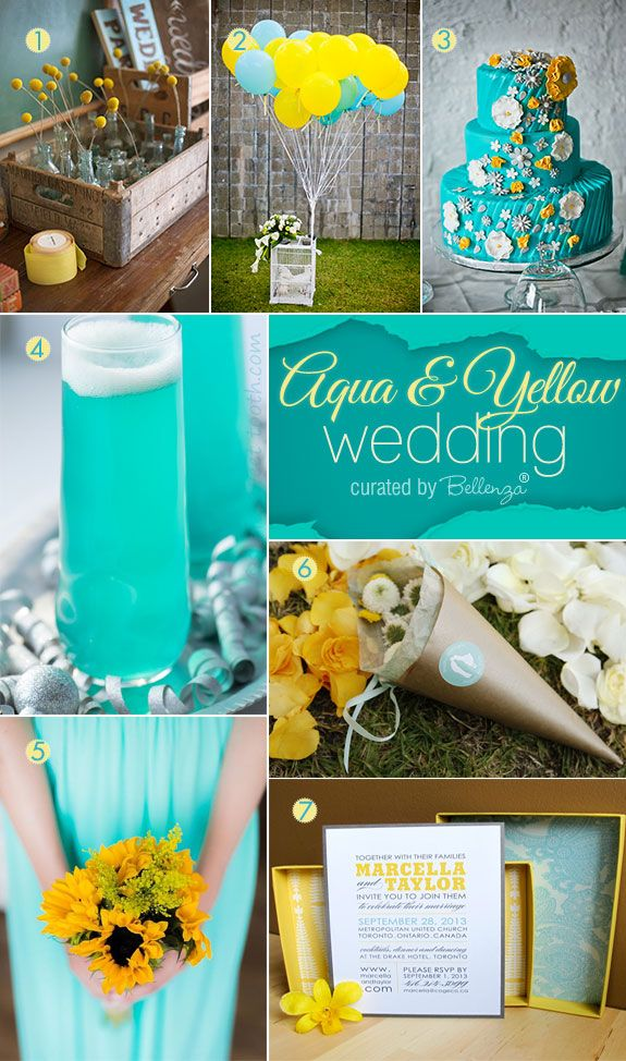 wedding ideas yellow vibrant aqua and yellow summer wedding palette 28366