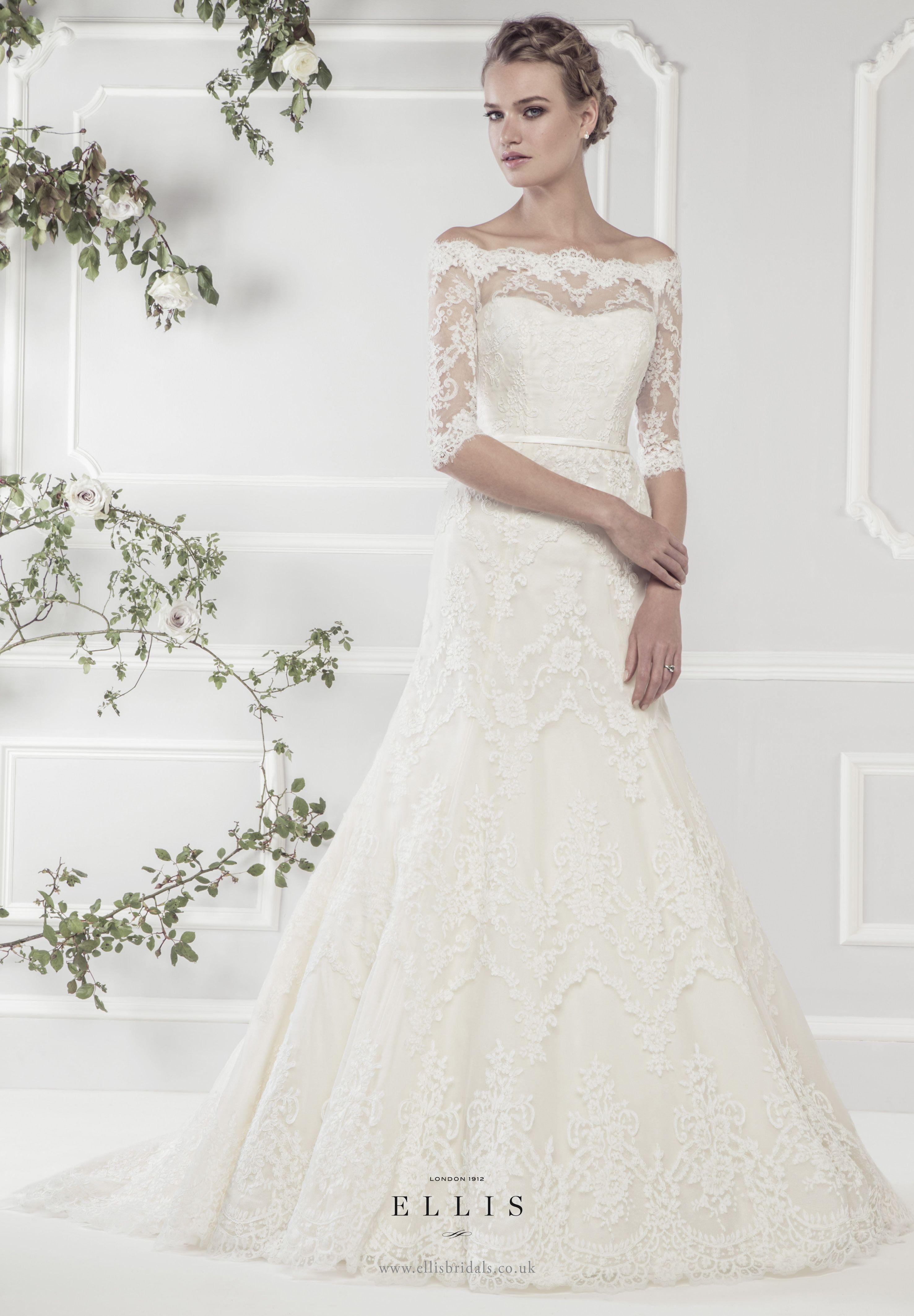 Ellis2015 style 11418 39 elegant off the shoulder lace a for Three quarter wedding dresses