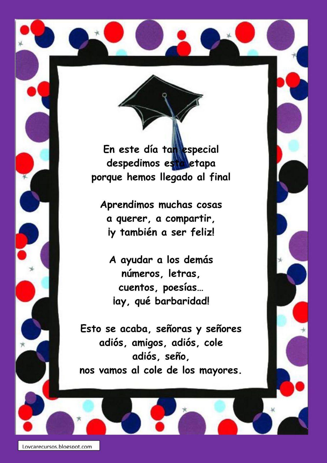 Poesias De Graduación Infantil Buscar Con Google Felicidades