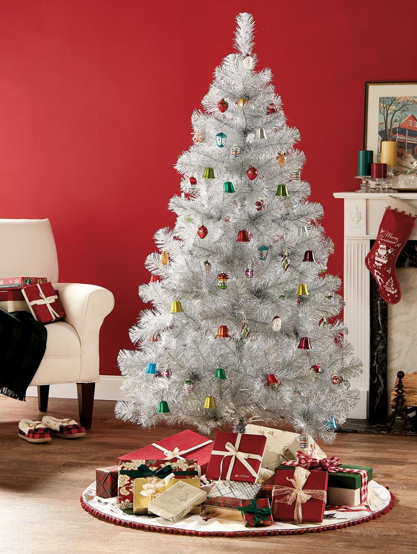 Silver Tinsel Christmas Tree Holiday Decor Tinsel Christmas Tree Silver Tinsel Christmas Tree Traditional Christmas Tree