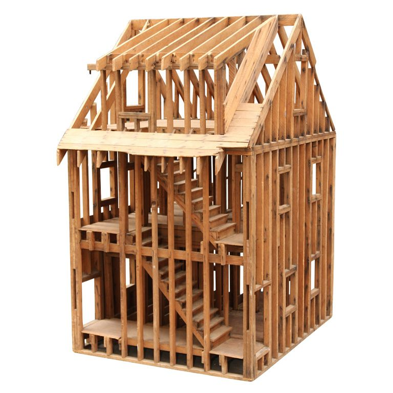 Mantiques Modern / Great Balloon Framing Scale Model of a Home | con ...