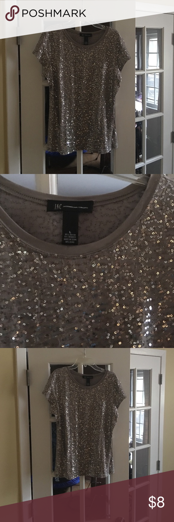 Sequin T-Shirt Worn 1 time - short sleeve silver sequin T-Shirt. INC International Concepts Tops Tees - Short Sleeve