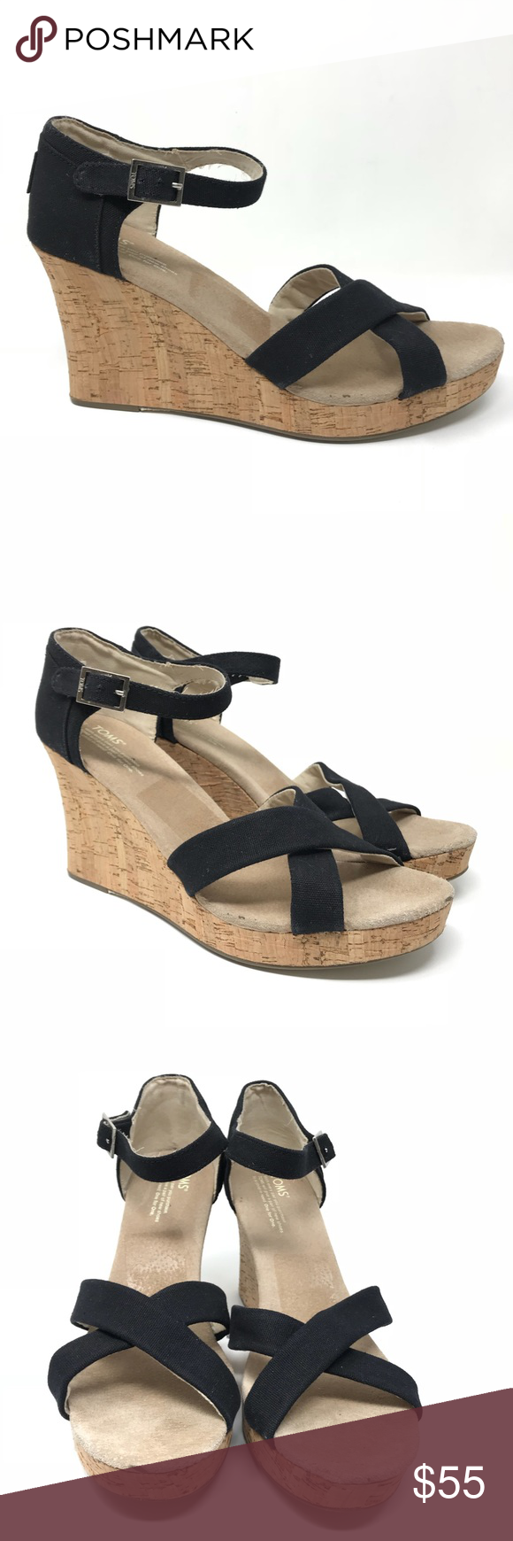 6e936767433173 Toms Sz 12 Strappy Wedge Sandals Black Cork Canvas Toms Women s Size 12  Canvas   Cork Strappy Wedge Sandals Black NEW Brand new without box
