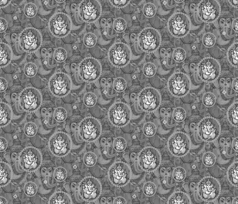Big Grey Bejewelled Ganesh fabric by lovekittypink on