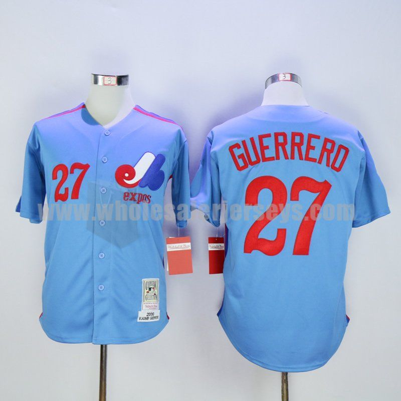 b05c3baf1 Men s Montreal Expos  27 Vladimir Guerrero Blue Stitched Mitchell And Ness  2000 Throwback Baseball Jersey