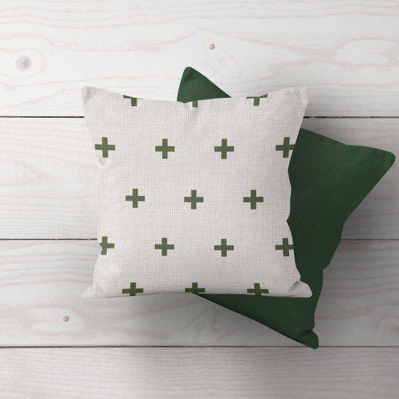 Farmhouse Christmas Throw Pillow Cover, Green Cross Grain ...