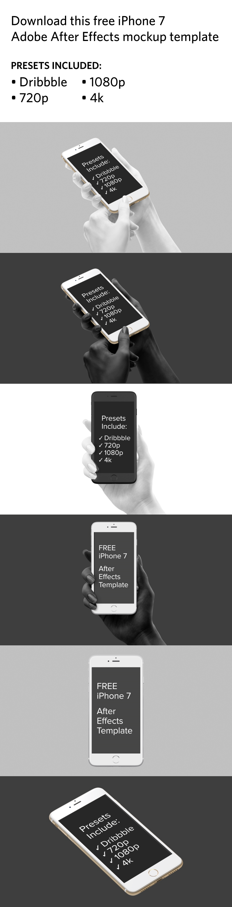 Download this free iPhone 7 Adobe After Effects mockup