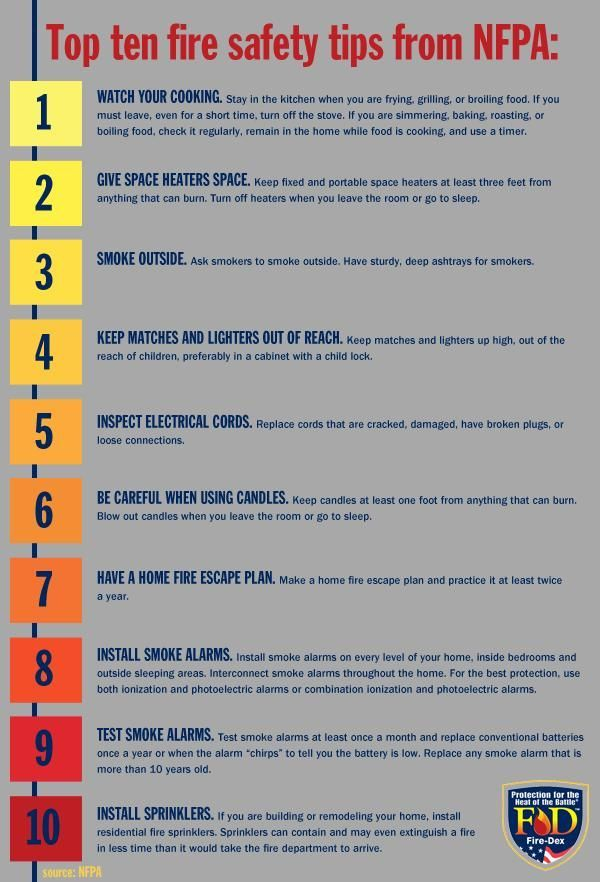 Top Ten Fire Safety Tips From Nfpa Fire Safety Tips Fire Safety