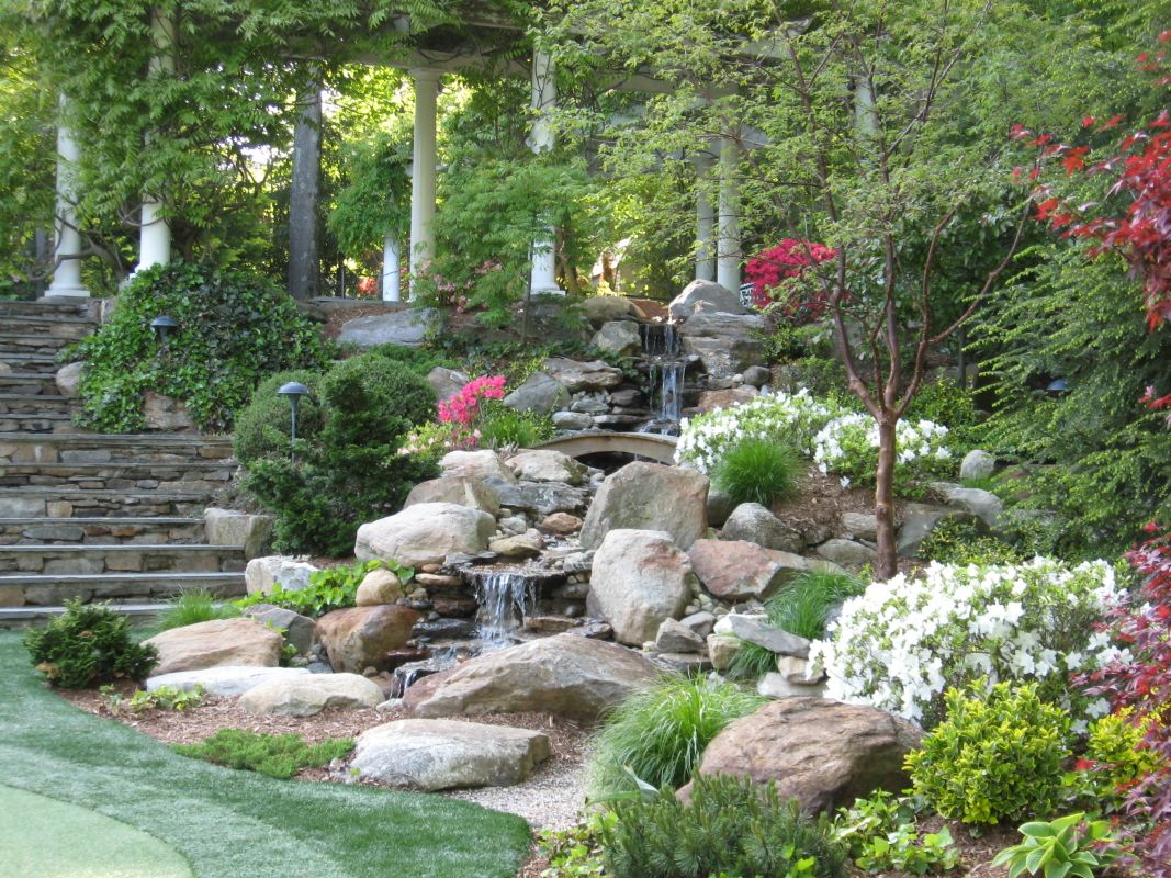 Backyard waterfalls pond stream and garden plantings in for Garden rock waterfall fountain