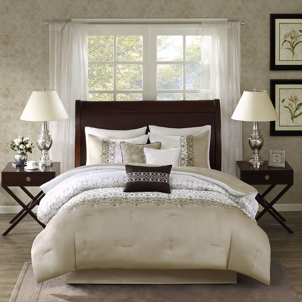Beautiful Modern Rich Elegant Luxury Taupe Gold Beige Scroll White Comforter Set Ebay Comforter Sets Comforters White Comforter