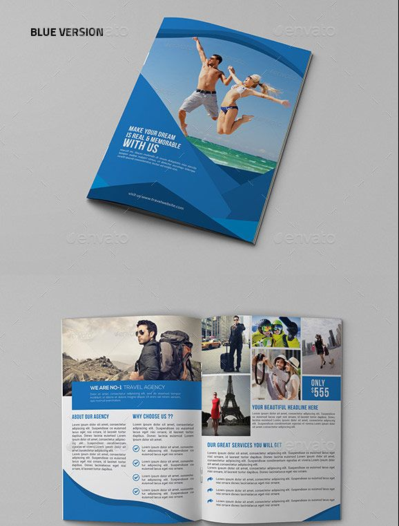 travel agency brochure template - travel agency bifold brochure template graphic design