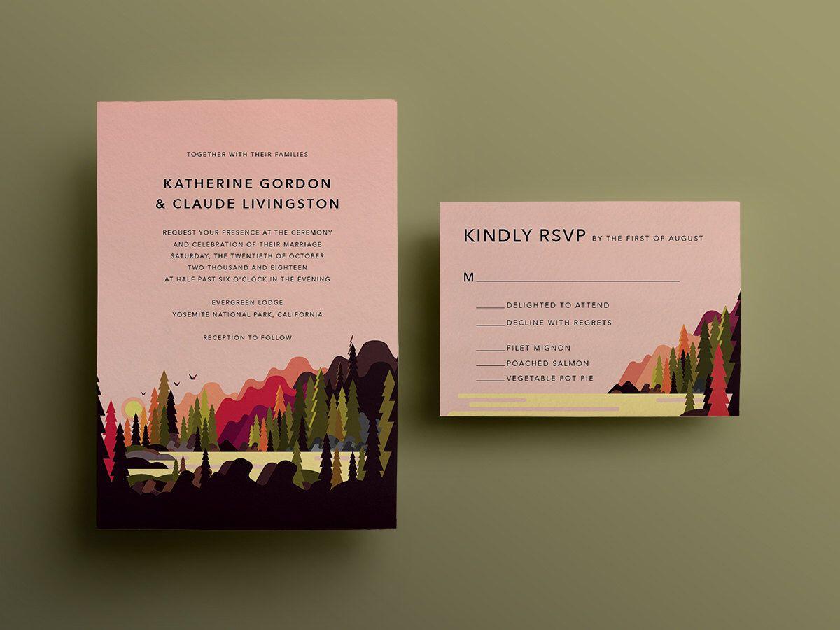 Dawn national park forest wedding invitation custom diy printable