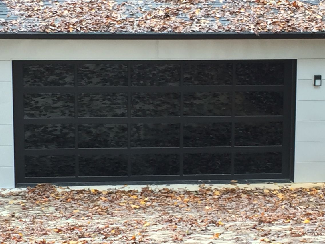 Full View Gl Garage Door With Black Frame And Tinted Windows