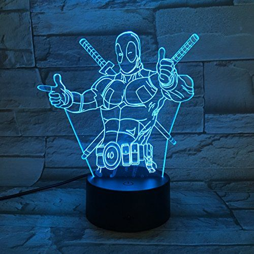 Le3d 3d Optical Illusion Desk Lamp 3d Optical Illusion Night Light 7 Color Led 3d Lamp Marvel Comics 3d Led For Kids And Adults Dead Pool Light Up Marvel Comics Marvel Led