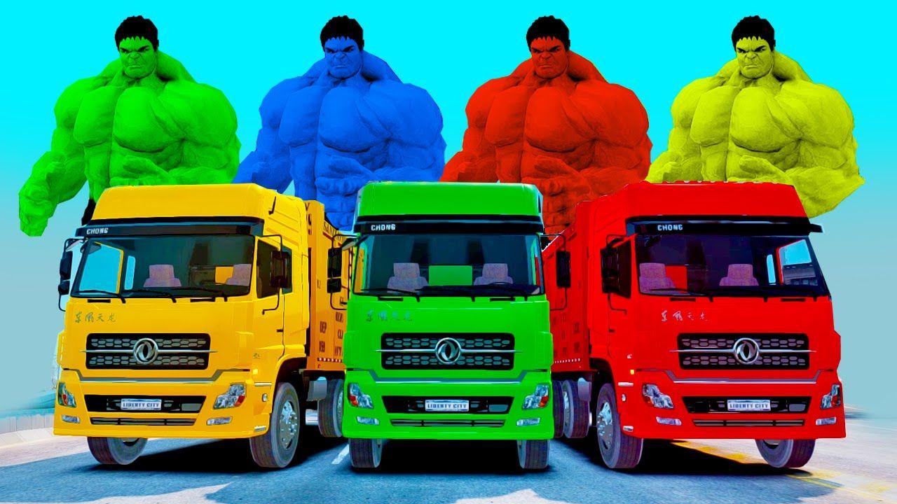 GARBAGE TRUCKS SMASH PARTY w/ HULK COLORS, FUNNY TRASH CARS, Nursery ...