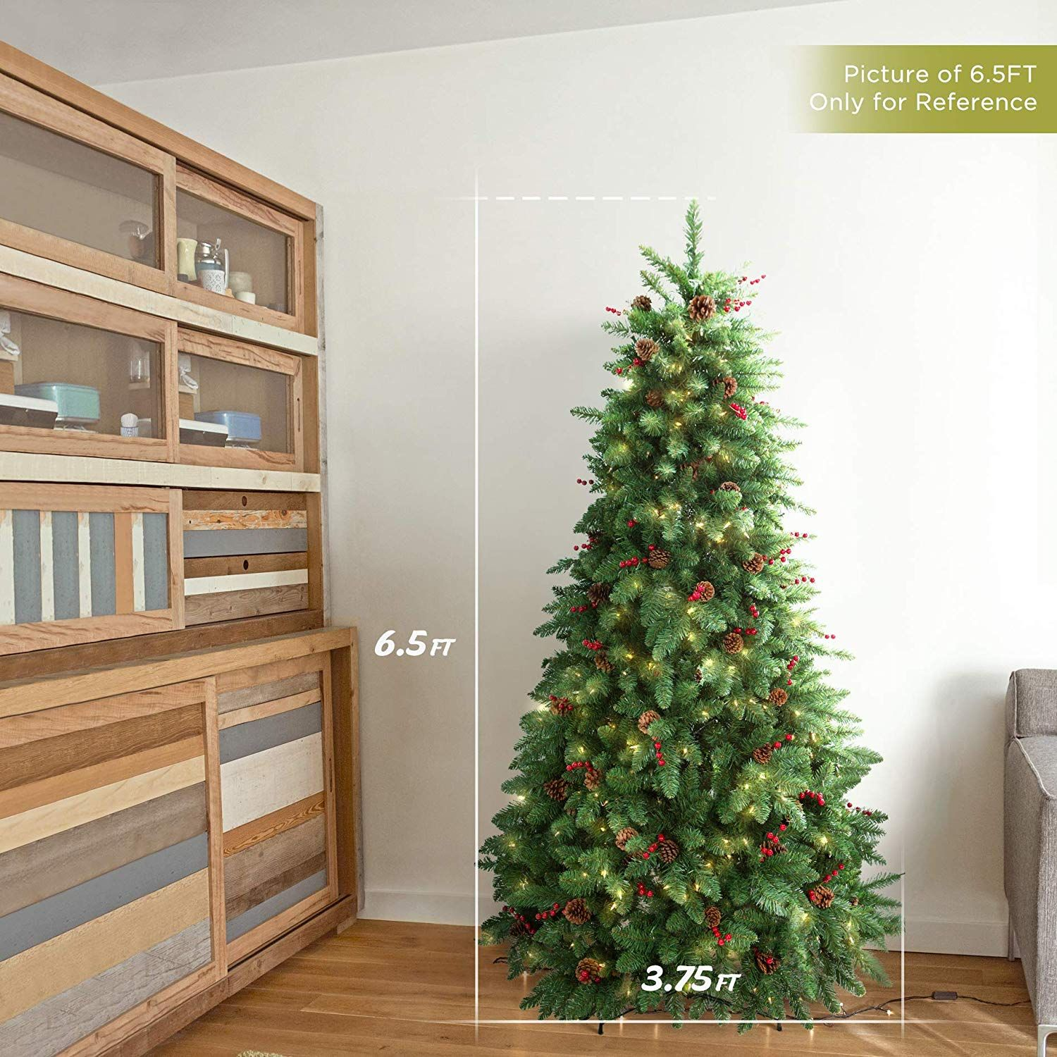 Lifefair 6 5ft Prelit Christmas Tree Pine Tree Decorated 450 Clear Lights Pine Cone Red Berries Pre Lit Christmas Tree Christmas Tree Christmas Tree Charm