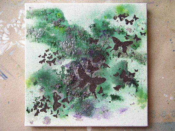 Mixed media canvas Mixed Media Art Crackle Painting Home