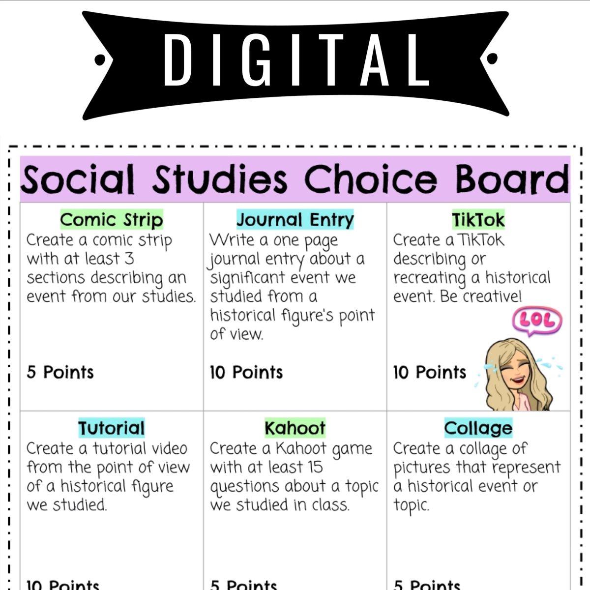 Social Stu S Choice Board