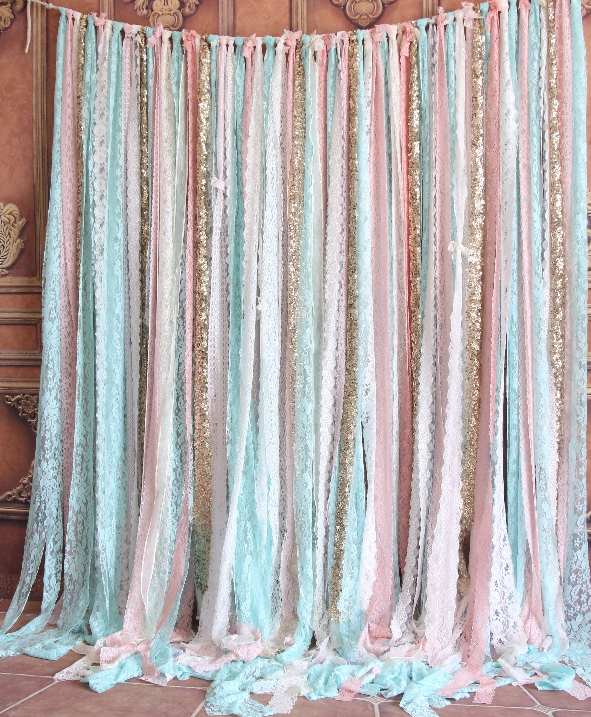 Mint Lace Fabric Pink Sparkle Sequin Photo Booth Photobooth Backdrop Wedding Ceremony Stage