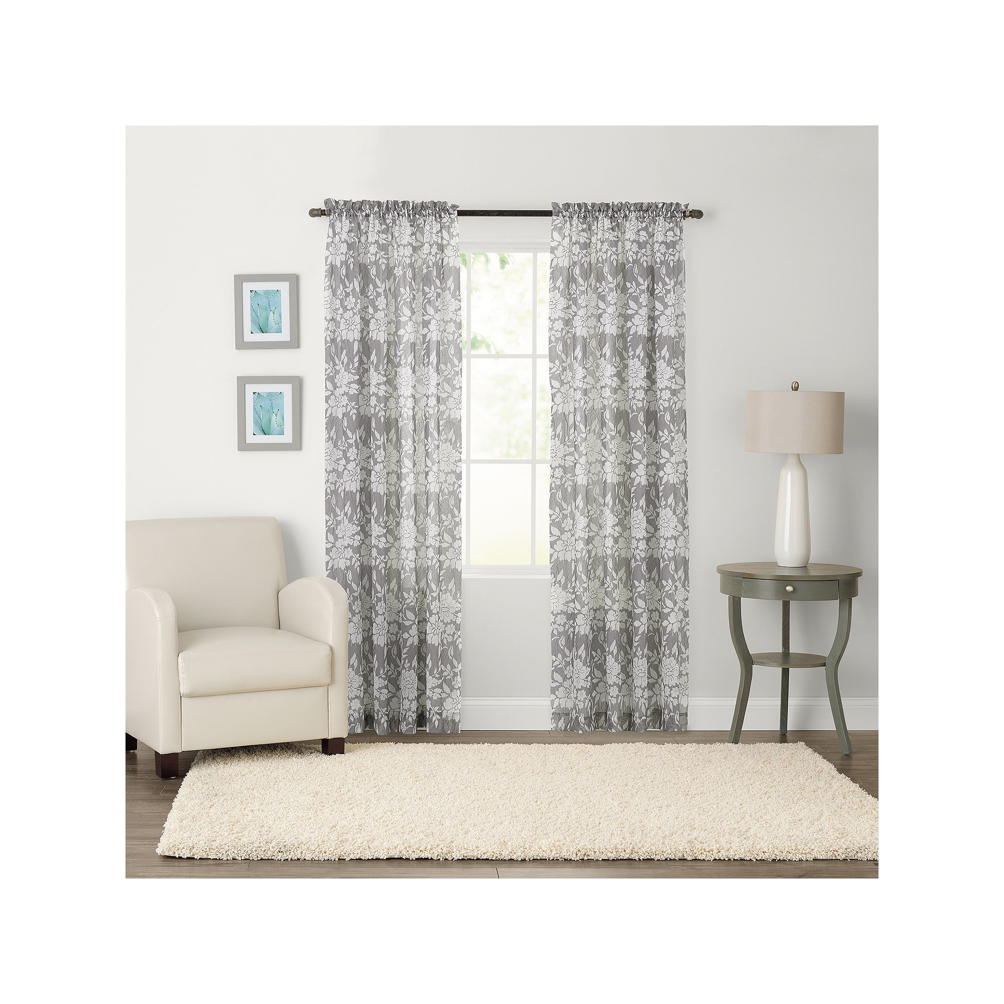 SONOMA Goods For Lifeac Karina Light Filtering Crushed Voile Curtain Grey