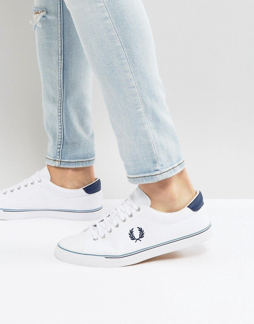 432e5d6225 FRED PERRY UNDERSPIN CANVAS SNEAKERS IN WHITE - WHITE.  fredperry  shoes