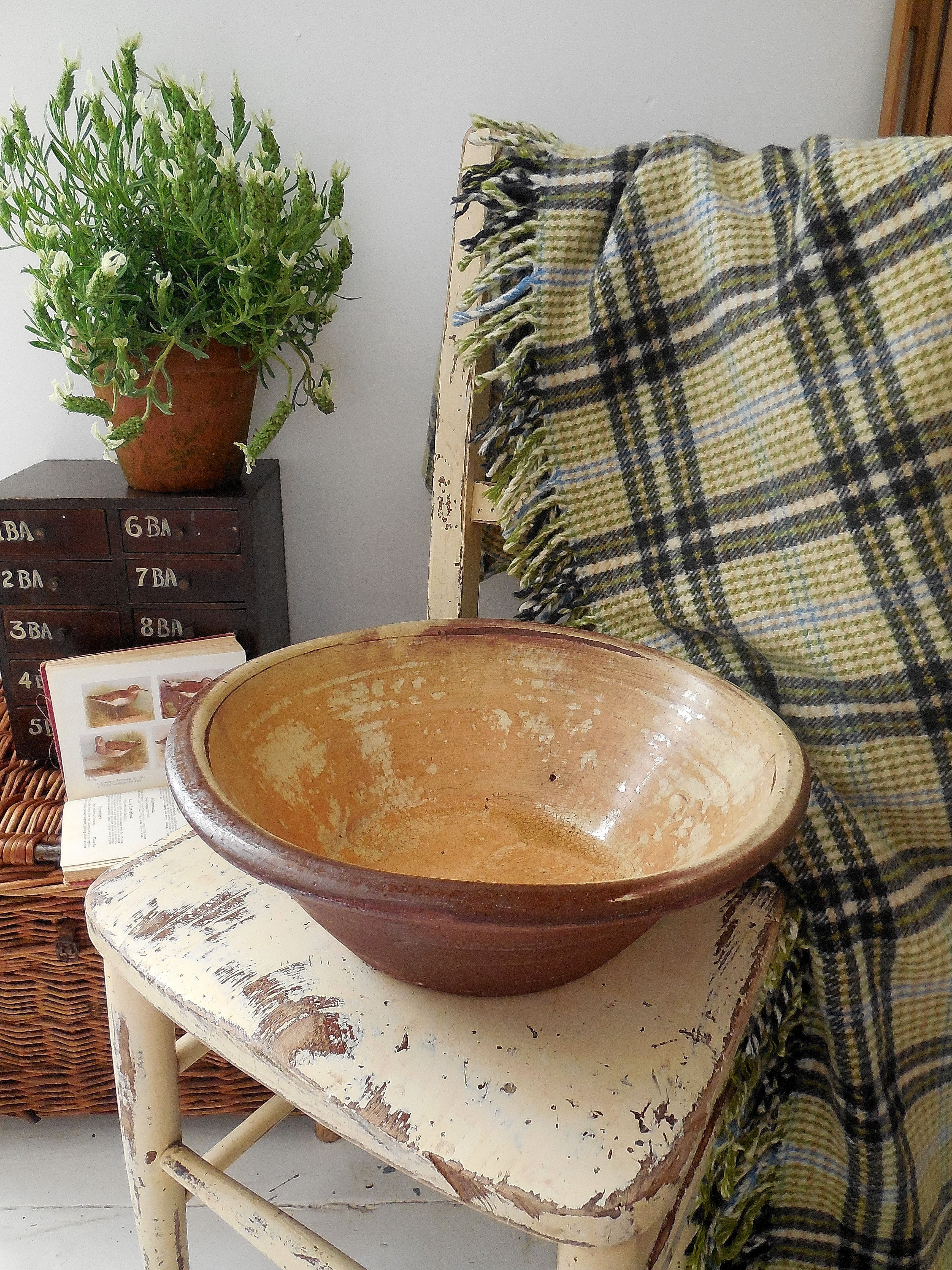 19th Century earthenware bowl from Lavender House Vintage vintage