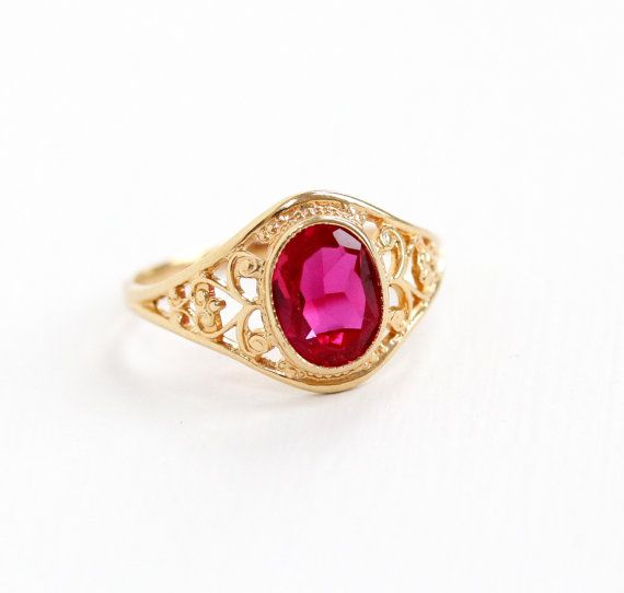 Vintage 10k Yellow Gold Created Ruby Ring Size 6 Filigree Oval Pink Red Stone Fine Jewelry Hallmarked Psco Plainville Stock Co Maejean Vintage Rings Ring