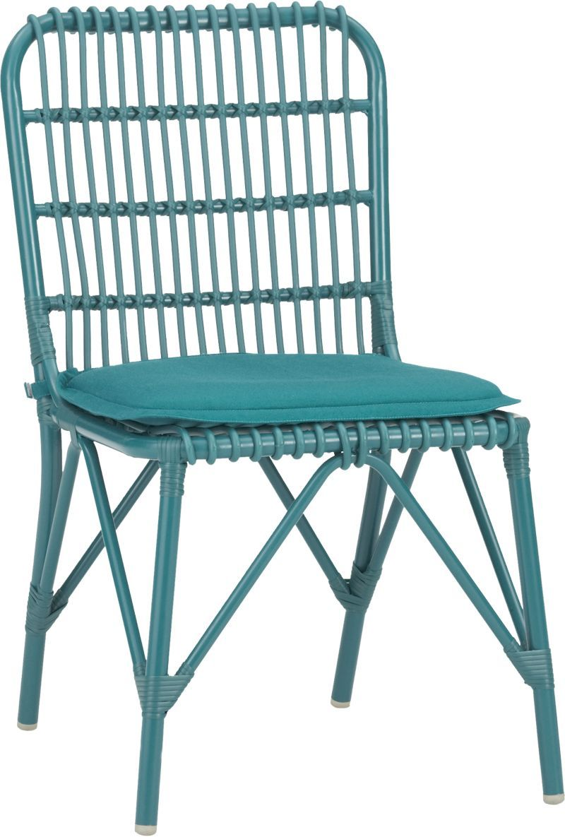 Kruger Harbor Blue Dining Chair With Sunbrella Cushion Crate And Barrel Obviously Loving Colored Chair Blue Dining Chair Blue Cushions Sunbrella Cushions