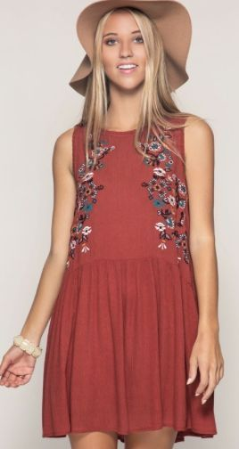 Sleeveless Swing Dress with Floral