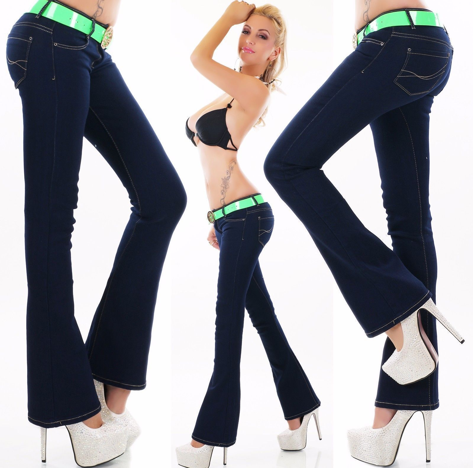 Womens Ladies Navy Blue Low Rise Bootcut Stretch Jeans Sizes