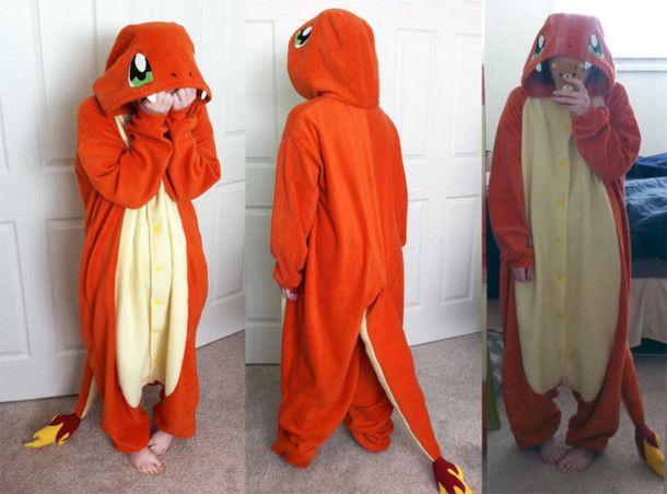 pajamas charmander kigurumi onesie pokemon indigoleague fire ...