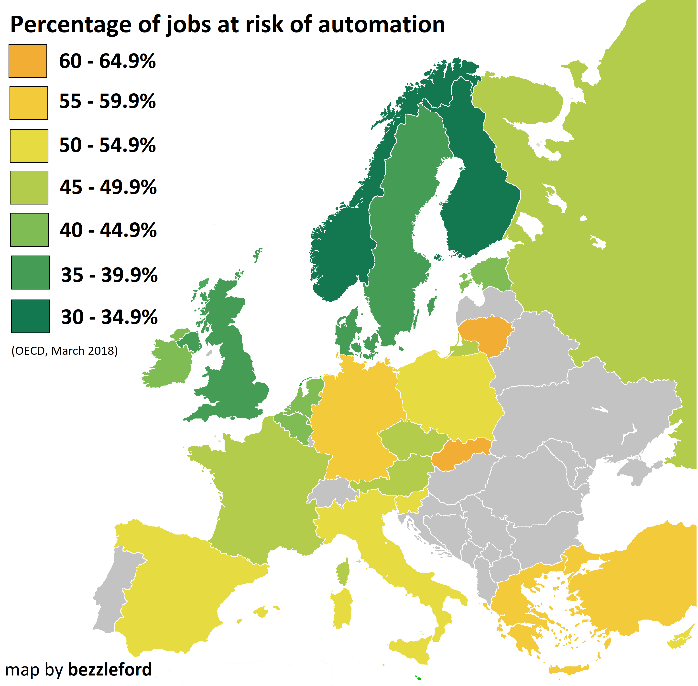 Percentage of jobs in Europe at risk of automation   job