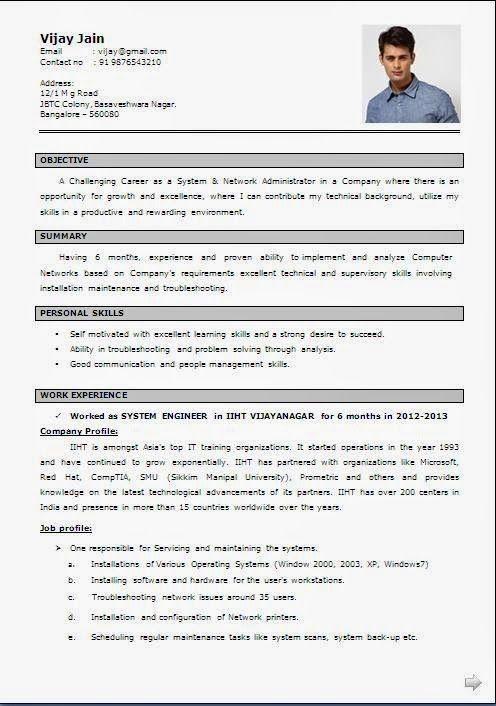 cv preparation example pdf