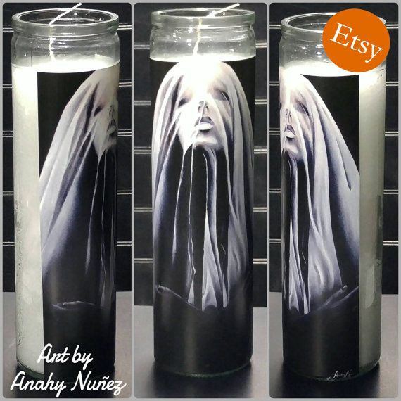 Check out this item in my Etsy shop https://www.etsy.com/listing/247630102/luxuria-veiled-lady-tall-glass-mexican  #candle #mexicancandle #painting #sticker