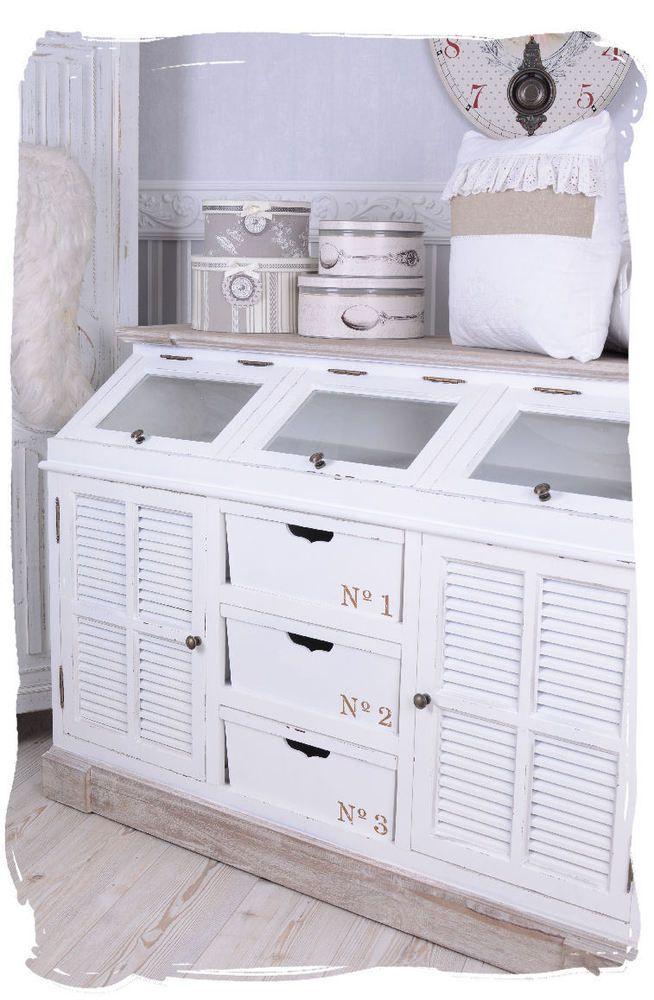 Anrichte Landhausstil Sideboard Shabby Weiss Kommode Retro Decor Furniture Home Decor