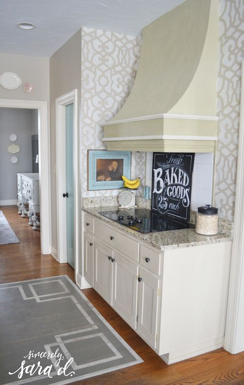 Easy Diy Home Decor Project Stenciled Kitchen Walls Makeover Your With Cute Allover Wall Stencils Royal Design Studio