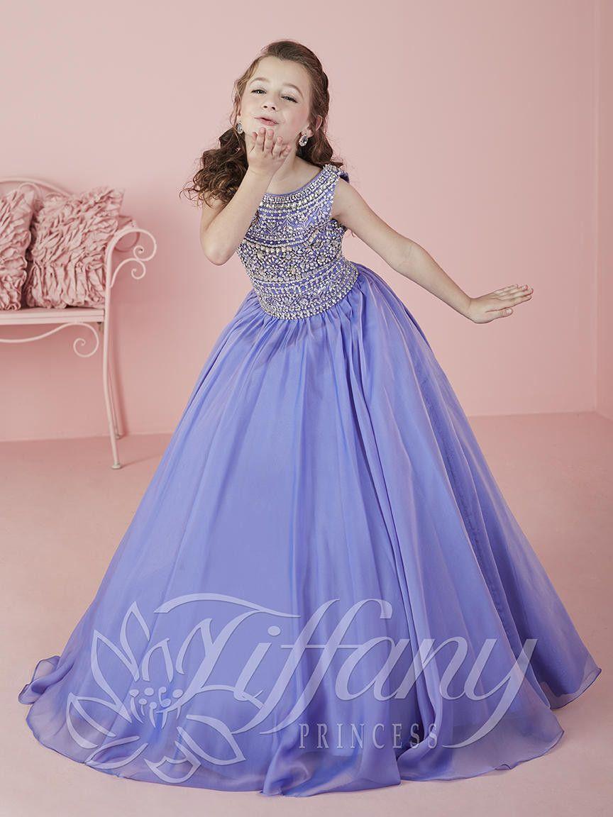 Tiffany Princess 13471 Iridescent Blue High Neck Pageant Dress ...