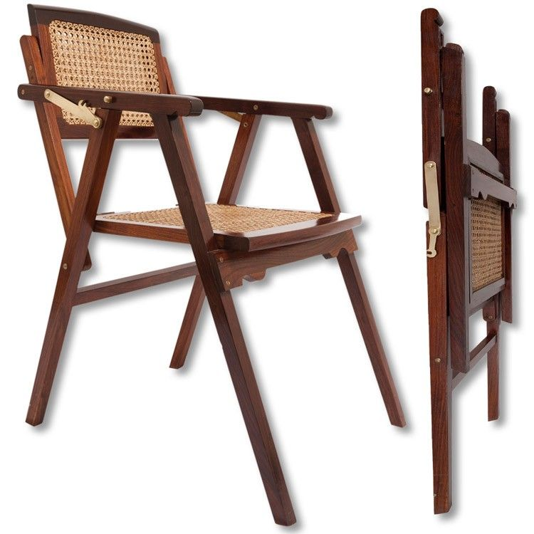 King George Folding Campaign Chair Cane $650