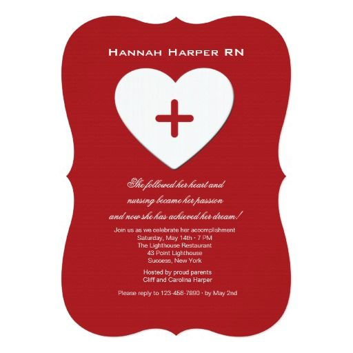 follow your heart nursing school graduation inv card  heart, 5 x 7 invitation cards, 5 x 7 invitation cardstock